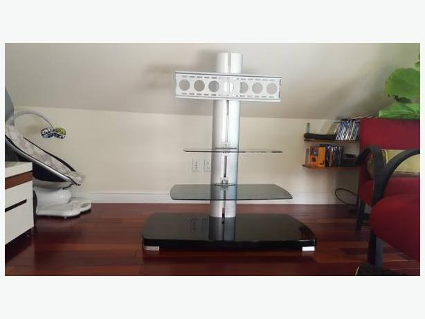 Sleek & Modern Floating Adjustable TV Stand/Mount with 2 Adjustable Shelves