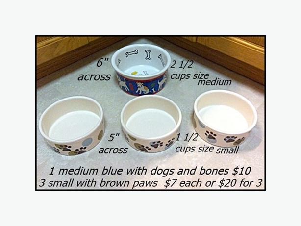 Ceramic Dog Bowls Variety $10(medium) $20 (3 small)