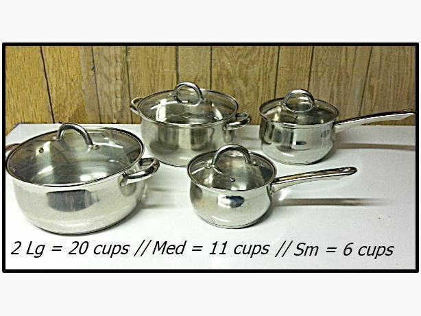 4 pots set with glass lids