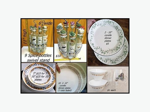 fancy spice rack $10 // corelle plates & tea cups $25, $15, & $1