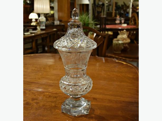 STUNNING ANTIQUE CRYSTAL APOTHECARY JAR AT CHARMAINE'S