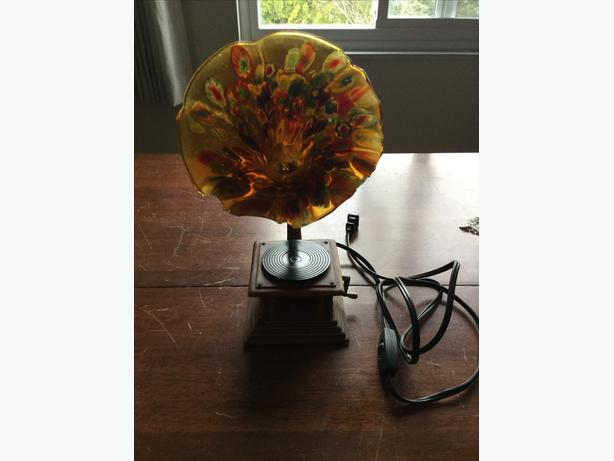 Unique gramophone stained glass table lamp .........