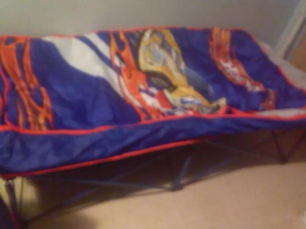childs hotwheels portable air matress and cot
