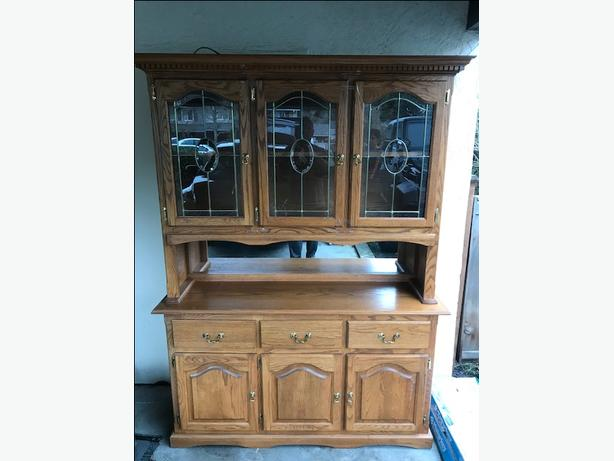 Solid Oak Two Piece China Cabinet