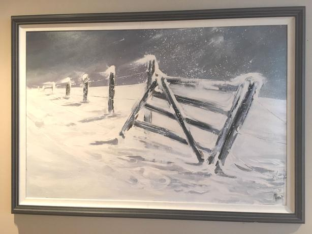 "Original. STUNNING!  Acrylic ""Winter Winds"" Signed by Artist M Hallett 40x29"