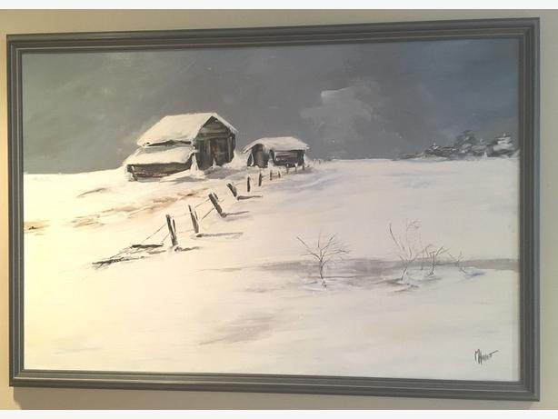 "Original.  Captivating Winter Scene signed by Local Artist M, Hallett 39"" x 27"""