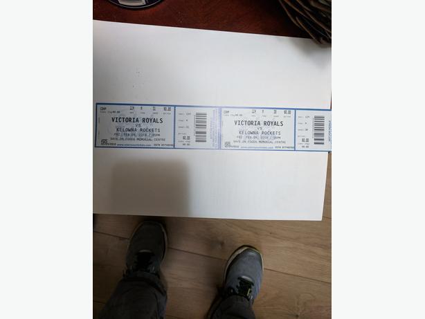 2 tickets to Victoria Royals vs Kelowna Rockets 09Feb2018 7:05 pm