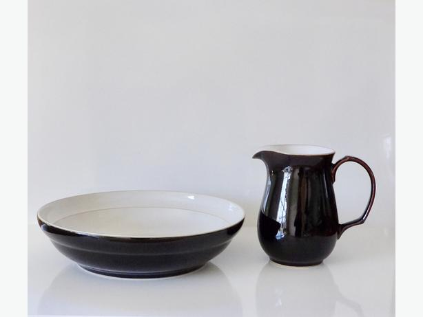 "DENBY England Large Serving Bowl & 6"" Pitcher / Jug"