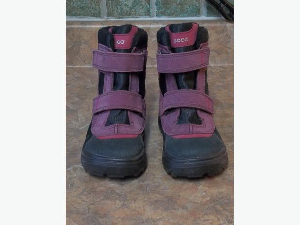 KIDS ECCO GORE-TEX SNOWRIDE MID CUT QUICK FASTE FUCHSIA WATERPROOF BOOTS