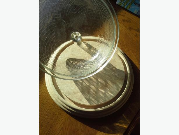 Glass Cover Wooden Cake Plate
