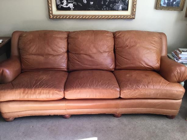 Gold Leather Couch Sagers And Mauve Leather Chair