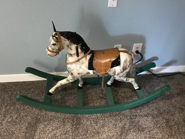ANTIQUE ROCKING HORSE 1850 - 1870 GERMANY BIEDERMEIER - SOLID WOOD - VERY RARE