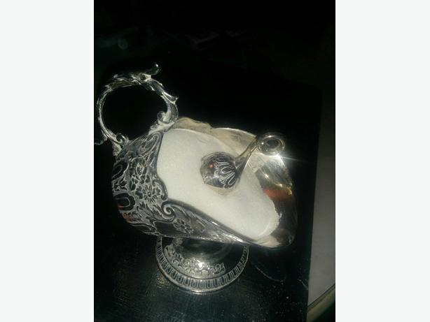 silver plated coal scuttle with mini scoop - sugar bowl
