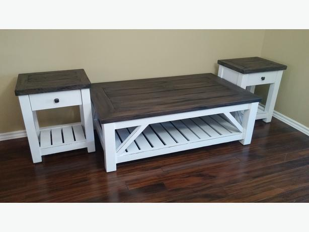 New Solid Barn Wood Coffee and End Table Sets