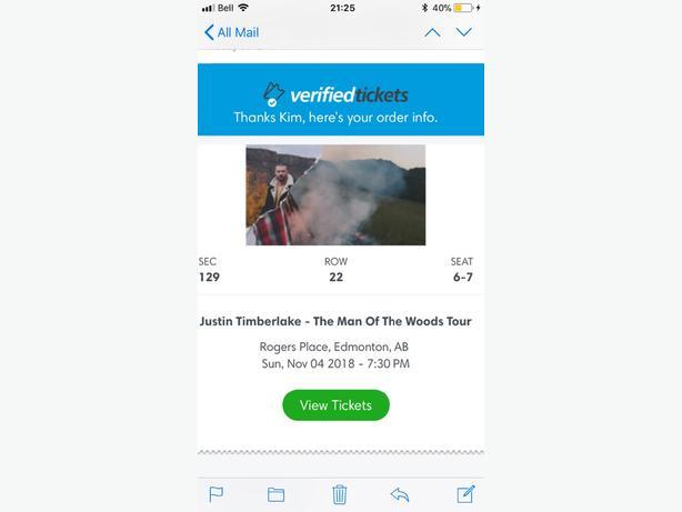 2 tickets to Justin Timberlake nov 4 in Edmonton