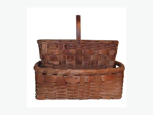 Pair of antique ash splint carrying baskets