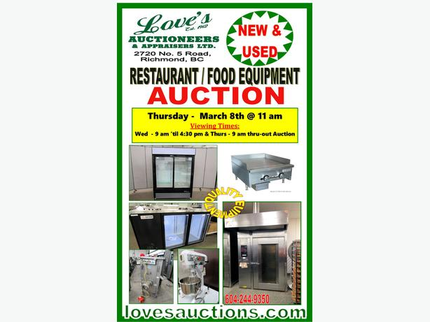 GIANT RESTAURANT FOOD EQUIPMENT AUCTION - THURS. MARCH 8th @ 11 am