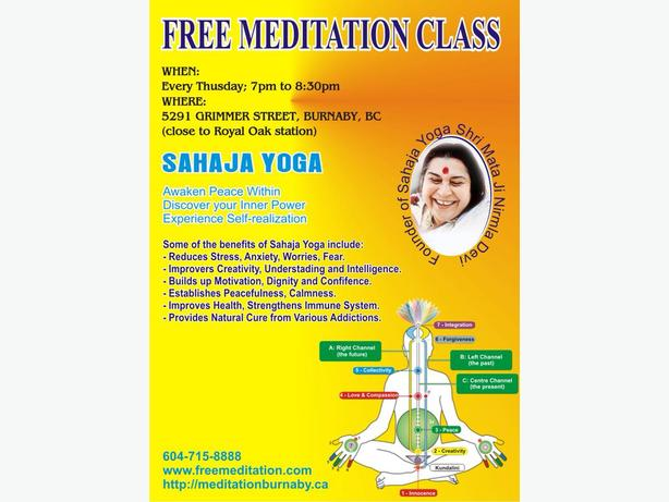 Free Sahaja Yoga Meditation Classes in Burnaby B.C.