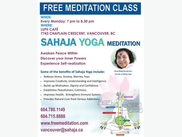 Free Sahaja Yoga Meditation Classes in Vancouver B.C.