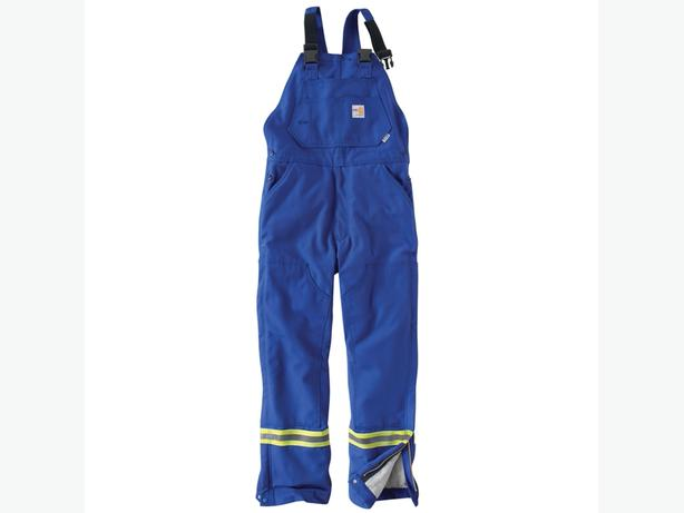 Carhartt FLAME-RESISTANT STRIPED DUCK BIB OVERALL/QUILT-LINED