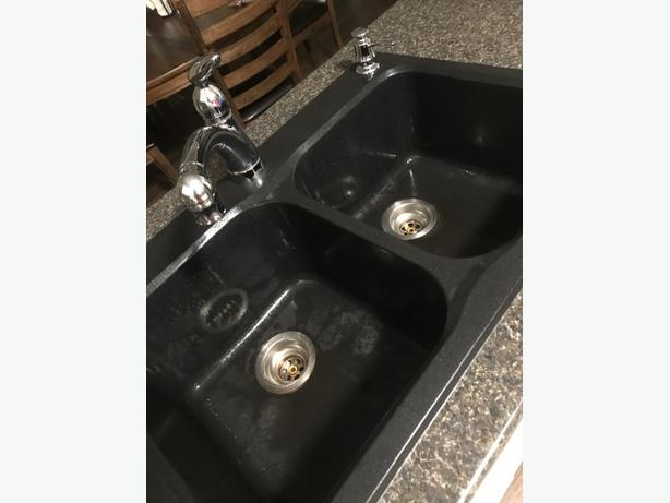 black granite double sink
