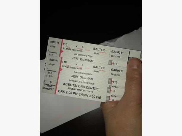 2 Tickets Jeff Dunham Abbotsford March 11 Show