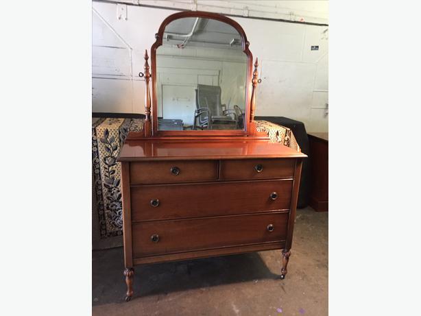 Vintage walnut dresser with mirror