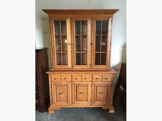 Solid oak sideboard and hutch