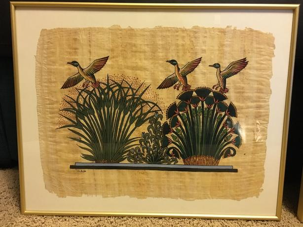 Framed papyrus paintings - set of 3 - from Egypt