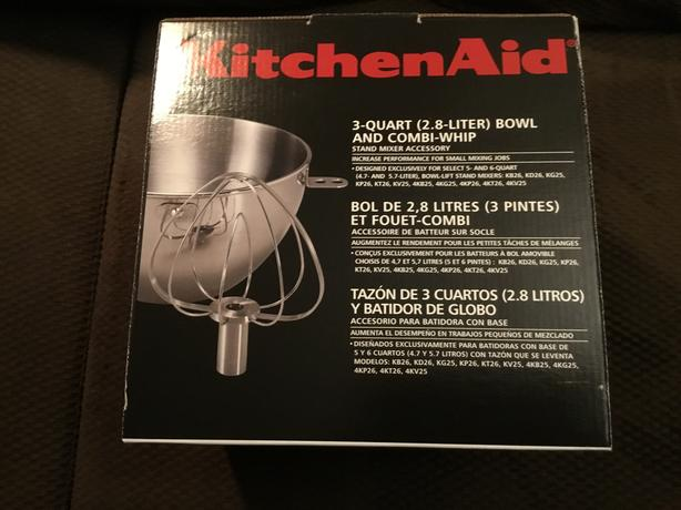 KitchenAid 3qt Bowl And Combi-Whip Mixer Attachment New In Box