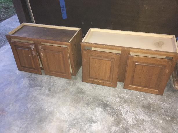 Upper oak cabinets