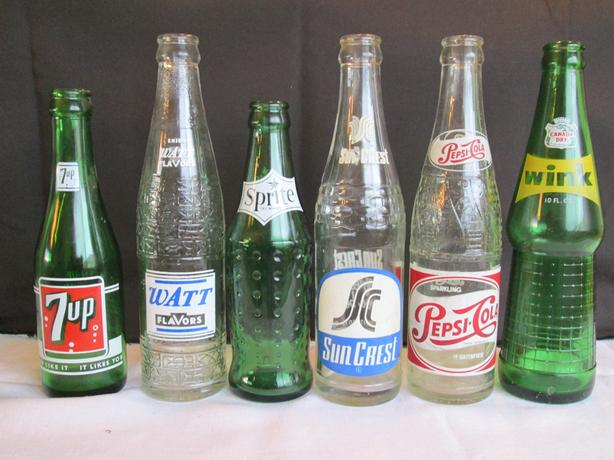 6 Antique glass collectable pop bottles