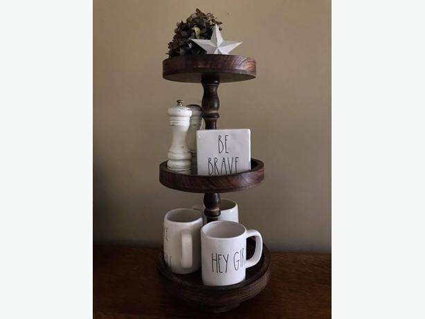 Three tiered wood stand