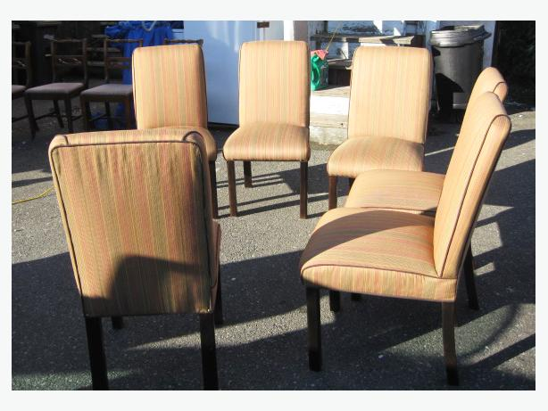 Set of matching 6 dining room chairs  upholstered seats 58 each