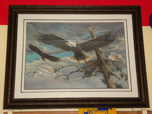 Large framed Keith Warrick Eagle painting oil on canvas