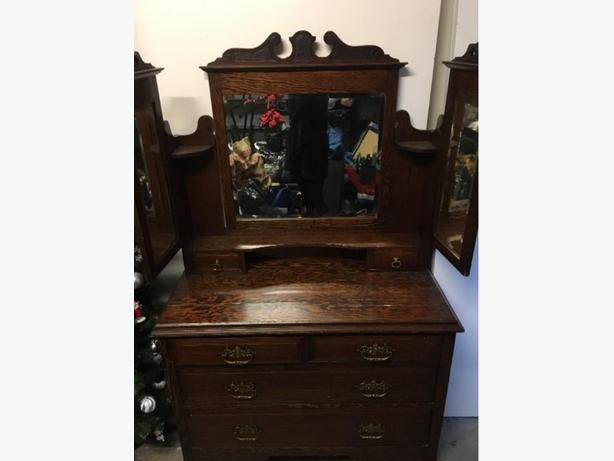 Antique Solid Wood Dresser with 3 mirrors