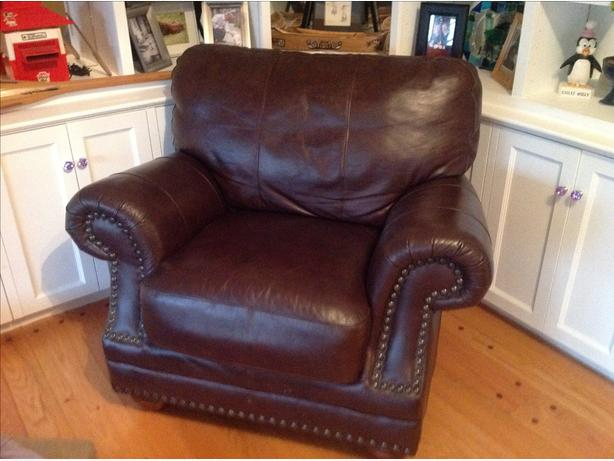 Gorgeous oversized dark brown leather chair