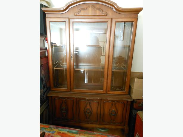 Glass and solid wood cabinet