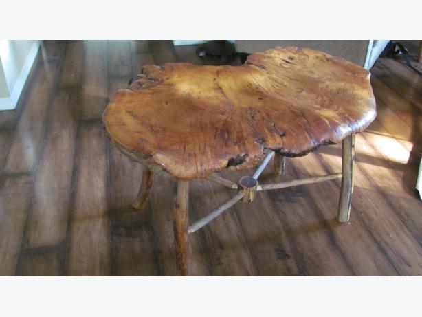 *REDUCED* Carved Cedar Burl Bench for Two