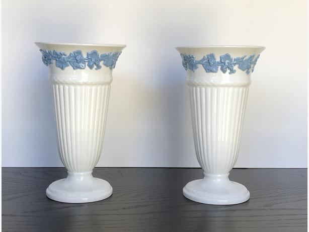 Pair Of Wedgwood Vases With Embossed Grapevine Trim Central Saanich