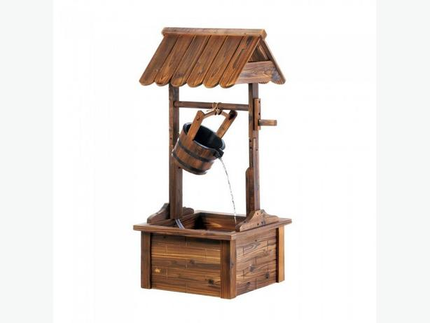 Cottage Chic Wishing Well Yard Fountain Brand New Wood