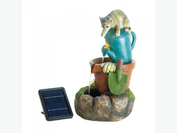 Cute Kitten Cat Solar Fountain with Electrical Adapter Brand New