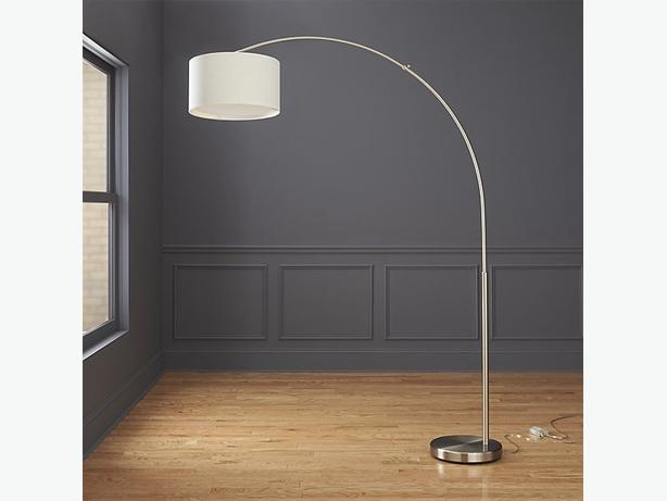 Like New Cb2 Big Dipper Arc Brushed Nickel Floor Lamp