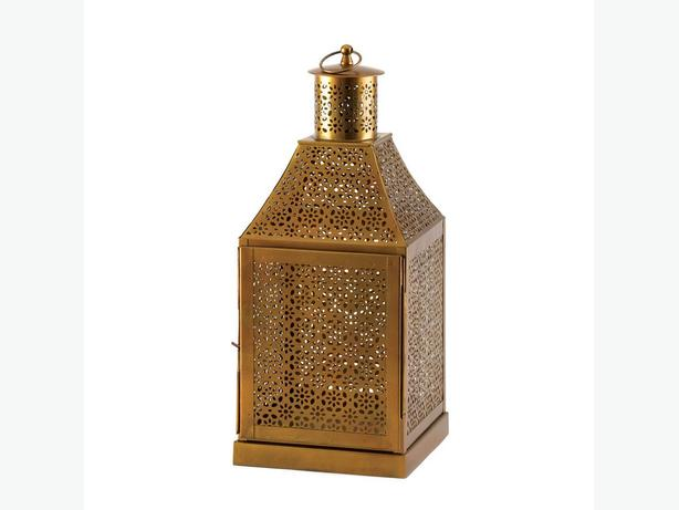 "16"" Ornate Gold Metal Candle Lantern Centerpiece 3 Lot Brand New"