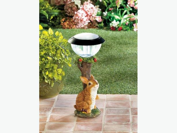 Adorable Solar Bunny Rabbit Yard Ornament LED Pathway Light Lamp 3 Lot New