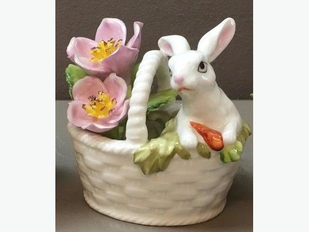 Bone China Rabbit in a Basket