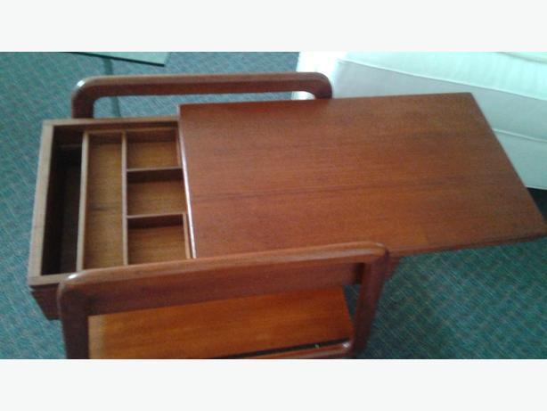 Mid Centuury Solid Teak Side Table / Cart