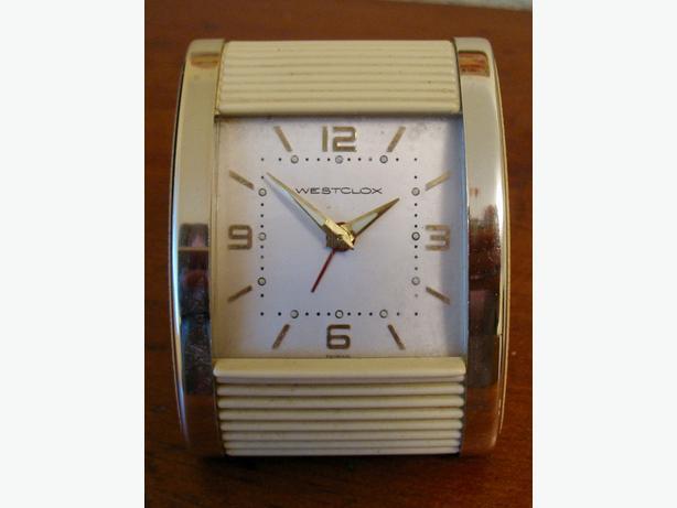 Vintage 1950s Westclox Roll Top Wind Up Travel Alarm Clock Esquimalt