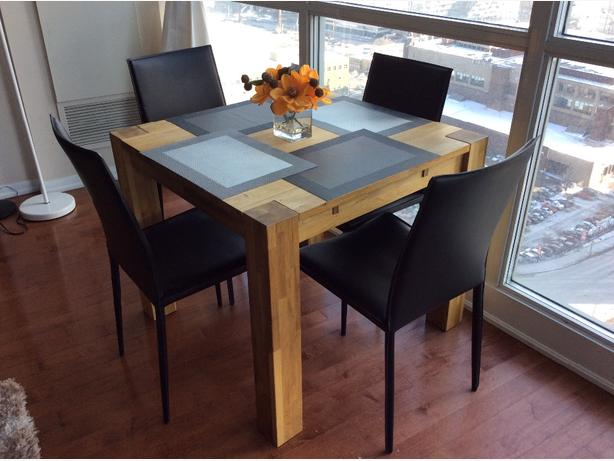 EQ3 wooden dining table with 4 leather chairs
