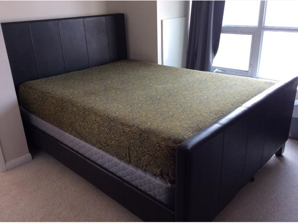Queen sized leather bedframe